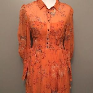 NWT Free People Long Sleeve Babydoll Mini Dress